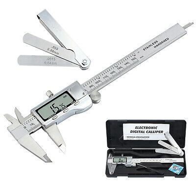 "Digital Vernier Caliper+Feeler Gauge 6""Stainless Steel Electronic Measuring Tool"