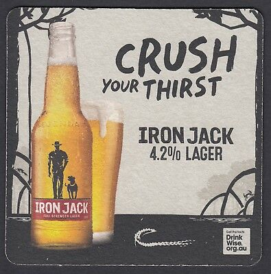 "2 x IRON JACK LAGER  (NEW DESIGN)  ""CRUSH YOUR THIRST""  BEER COASTERS"