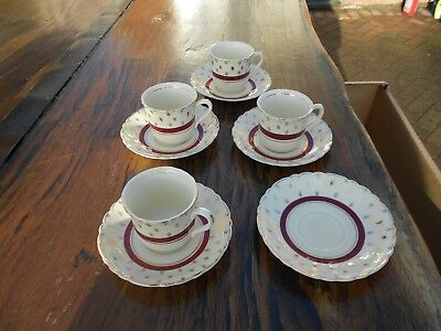 Vintage A J Wilkinson Royal Staffordshire Pottery Honeyglaze 4 x Cups/Saucers