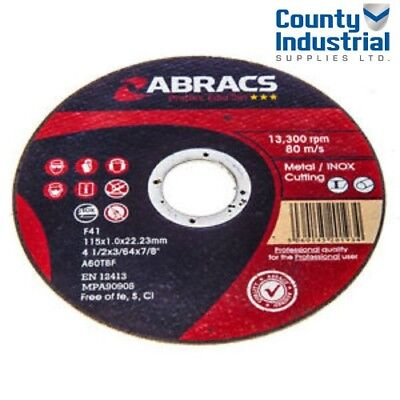 ABRACS PROFLEX EXTRA THIN 115mm x 1mm CUTTING/SLITTING METAL/STAINLESS DISCS