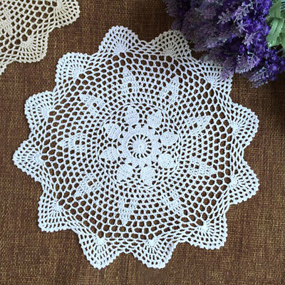 White Vintage Hand Crochet Lace Doily Round Cotton Table Mat 35-40cm Handmade