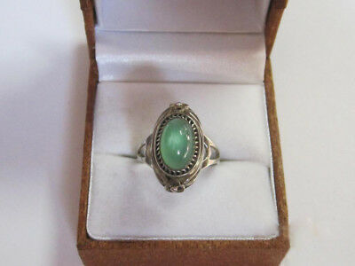 Vintage Ring With GORGEOUS Chrysoprase Silver 875 Soviet Antique Size 7