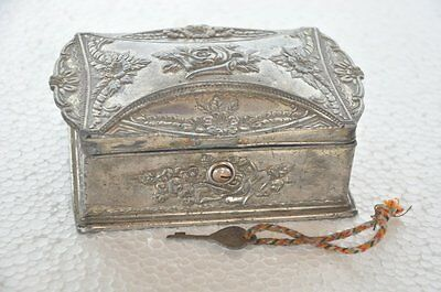 Old Antimony Floral Embossed Unique Shape Jewellery Box , Collectible