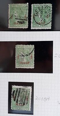 Rare 1873- Victoria Australia Page with 4X 1/2 d Surcharge Laureate stamps Used