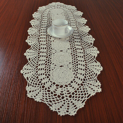 Vintage Hand Crochet Table Runner Mat Oval Cotton Lace Doily 30x90cm Beige