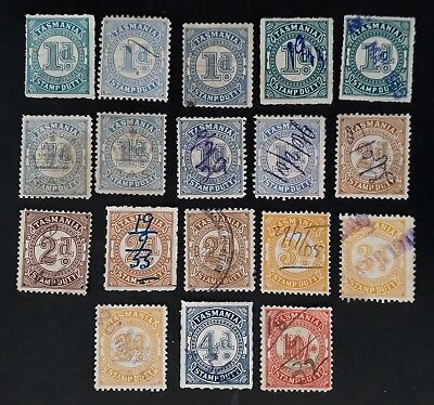 Rare 1904/31- Tasmania Australia Lot of 18X Stamp Duty Stamps Unchecked Used