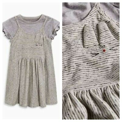 NEXT Girls Bunny Dress Outfit Age 4-5 5-6  Dress & Top BNWT Summer Easter