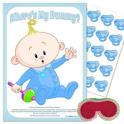 BABY SHOWER GAME - Pin the Dummy / Pacifier Blindfold BLUE Party Boy 10,20,30,40