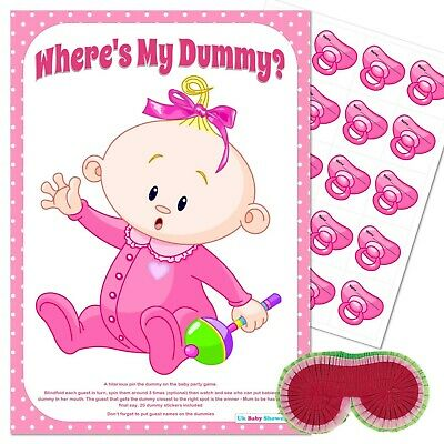 BABY SHOWER GAME - Pin the Dummy Pacifier Blindfold PINK Party Girl 10,20,30,40