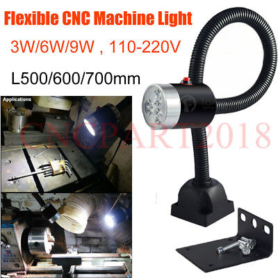 110-220V CNC Machine LED Work Light 3W/6W/9W Lathe Flexible Lighting Lamp,White