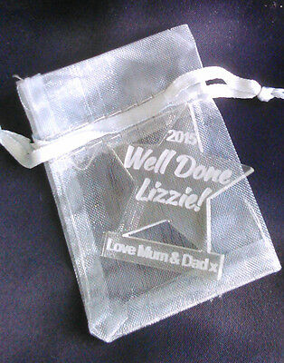 Personalised WELL DONE! Mini Acrylic Stars Exams Award/Charm/Tag with Gift Bag
