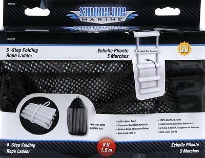 Shoreline Marine Ladder Rope 5 Step Folding - Works Great For Deep Docks As well