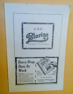 1913 Polarine Motor Oil Can, Blarine Oil, Boggs & Buhl Pittsburgh PA. Orig. Ads