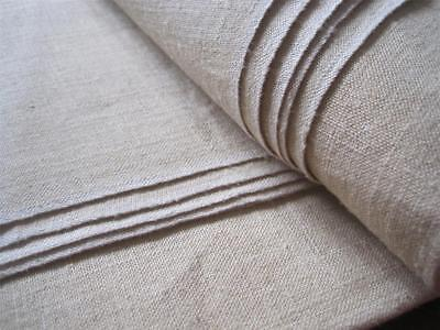 LENGTH OF UNUSED 19c FRENCH HEMP SHEETING FABRIC, GREAT FOR UPHOLSTERY etc
