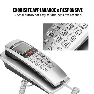 Home Office Wall-Mount Landline Telephone Dial Corded Caller ID Display FSK/DTMF