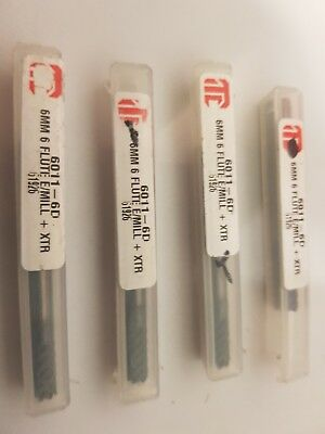 Pack of 4  solid carbide endmill Itc 6011-6D 6mm 6flute XTR 60x12x6