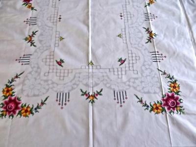 Vintage Ecru Cotton 62x80 Tablecloth Mosaic Lace Cross Stitch Embroidered Roses