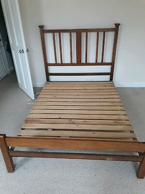 Antique Arts And Crafts Oak Double Bed
