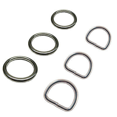 O Round and Dee D Rings Marine Grade A4 316 Stainless Steel Polished Welded Ring