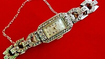 Silver and Marcasite Vintage Belista Watch - Swiss Movement, 15 Jewels