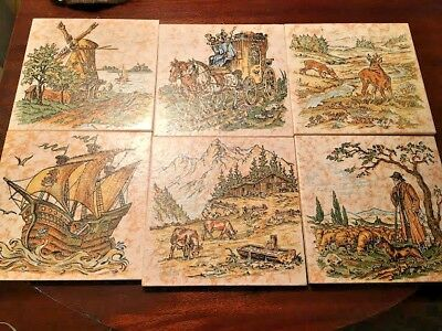 Vintage LOT OF 6 ORIGINAL Keramik Decorative Tile Made in Germany EXCELLENT 6""