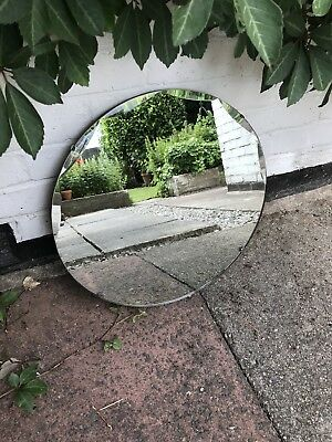 Round Mirror Vintage Art Deco Round Frameless Scalloped Mirror