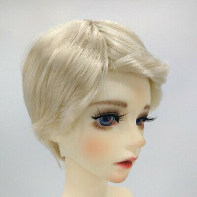 BJD Doll Full Wig 8-9inch 18-20cm for DOD LUTS DZ DOC Light Gold Curled Hair