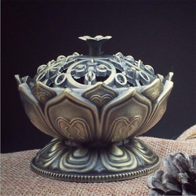 Chinese Lotus Cone Incense Burner Holder Flower Statue Censer Home Office Decor