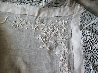 "French Antique Linen & Lace Whitework Hand Embroidery Bridal Handkerchief~17""Sq"