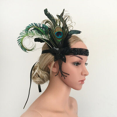 Vintage Beads Flapper Feather Fascia Hairband 20s Grande Gatsby Fascinator
