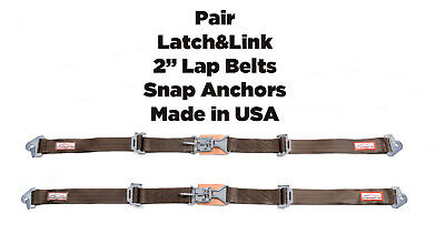 "Pro Street New Pair 2"" Latch & Link Seat Belt 2 Point Snap Clip Lap Belts Brown"