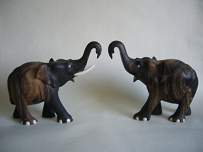 Pair Of Indian Carved Hardwood Elephant Ornaments Figures