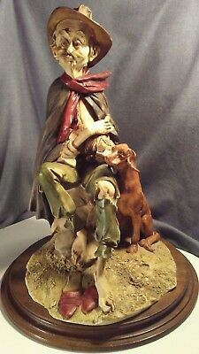 "Capodimonte 18"" Tramp Drinking & Dog Porcelain Figure hummel lladro germany dish"