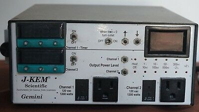 J-KEM Gemini Dual Temperature Controller Used + thermocouples and cords