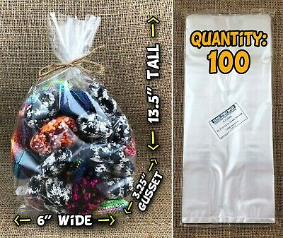 """100 NEW 6""""x3.25""""x13.5"""" Gusseted Clear Cello Poly Plastic Bags (Uline S-11590)"""
