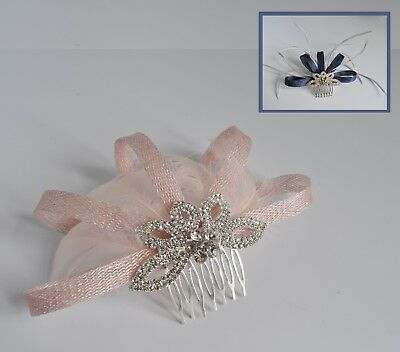 Pink/navy/grey/bespoke sinamay, diamante & feather wedding fascinator hair comb