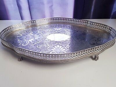 A Beautiful Vintage Silver Plated Gallery Tray On Clawed Legs.engraved patterns.