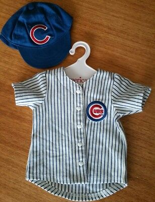 American Girl Doll htf Chicago Cubs Baseball Striped Jersey & Hat!