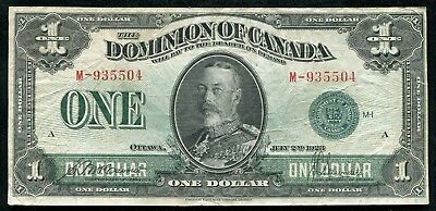 DC-25j 1923 $1 ONE DOLLAR DOMINION OF CANADA GREEN SEAL BANKNOTE