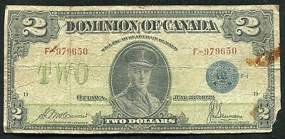 DC-26h 1923 $2 TWO DOLLARS DOMINION OF CANADA BLUE SEAL BANKNOTE