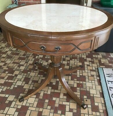 "Vintage Mersman 30-4  29"" 4 Leg Pedestal Round Table Marbled Formica Top Drawer"
