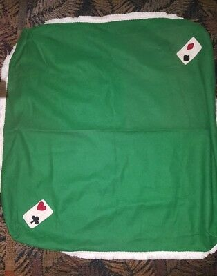 Vintage Card Table Cover with playing catds on fitted  corners green w/ fringe