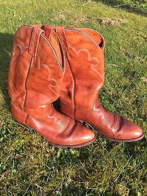 J.Chisholm handcrafted USA Western Boots Cowboy Leather Stiefel Gr. 10 D, Cognac