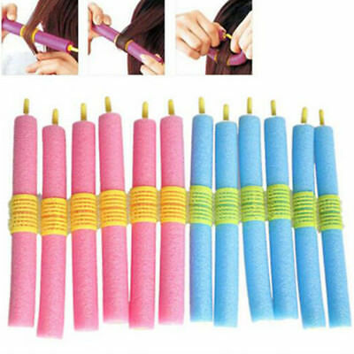 HK- 12x Flexible Sponge Hair Curlers No Heat Magic Pillow Soft Rollers Spiral Cu