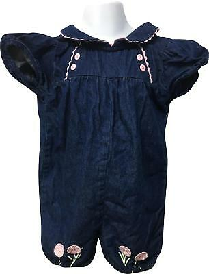 PRE-OWNED Girls Basic Edition Denim Look Pattern Playsuit Size 4T