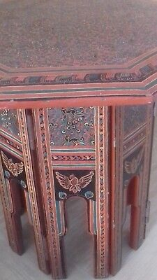 small vintage Burmese table red lacquer wood with monkey and bird decoration