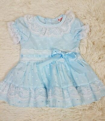 Vtg Winnie the Pooh Sears Roebuck Baby Girl Size 12 Mo. Dress Blue Lace Ruffles