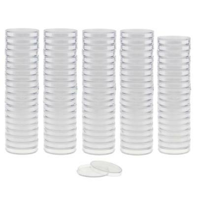 100pcs Clear Round Plastic Coin Capsule Container Storage Holders Case 38mm