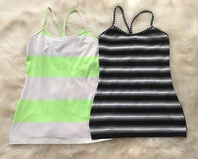 LULULEMON Lot Of 2 Power Y Tank Top Stripe Zippy Green And Black Stripe Sz 6 EUC
