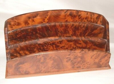 Art Deco hand crafted Burr Walnut Letter rack VGC